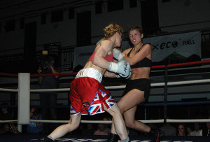 Marianne Marston lands a big left into the body of Jekaterina Lecko at York Hall back in August - Gianluca (Rio) Di Caro